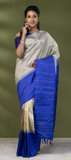 Pearl White & Purple Pure Kanchipuram SIlk Saree With Pure Zari