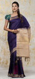 Dark Purple & Taupe Pure Kanchipuram SIlk Saree With Pure (1G) Zari