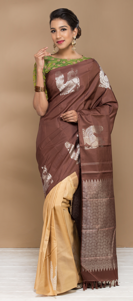 Brown and Beige Pure Kanchipuram Handloom Silk Saree With Pure Zari