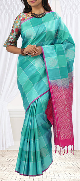Turquoise Blue and Pink Soft Silk Saree
