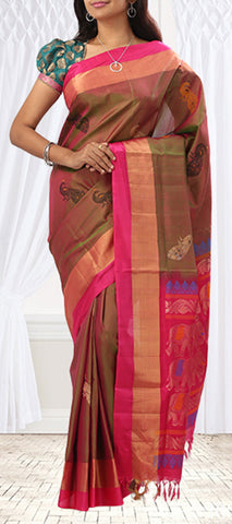 Green-Pink Shot Colour Soft Sari With Pink Borders & Pallu