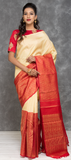 Cream and Pink Pure Kanchipuram Handloom Silk Saree With 1 G Zari