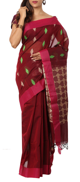 Maroon-Red Semi Silk Cotton Saree