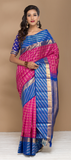 Fuchsia and Blue Pure Kanchipuram Handloom Silk Saree With Pure Zari