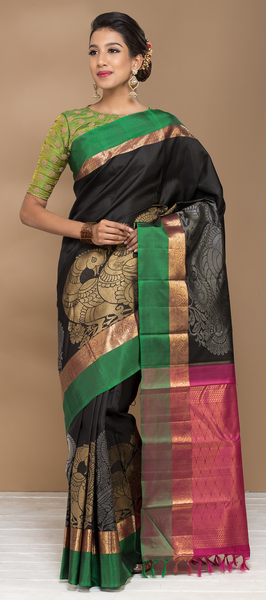 Black, Green and Magenta Pure Kanchipuram Handloom Silk Saree With Pure Zari