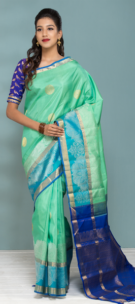 Aquamarine Pure Kanchipuram Handloom Silk Saree With Pure Zari