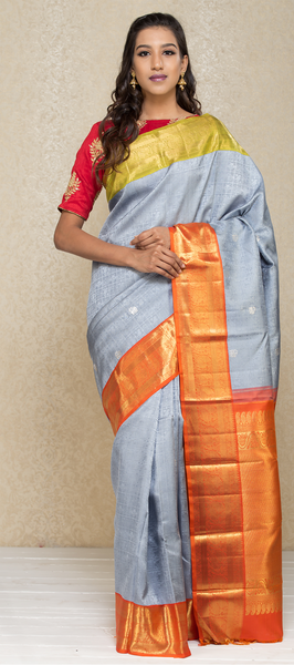 Powder Grey Pure Kanchipuram Handloom Silk Saree With Pure Zari