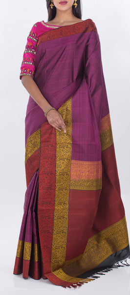 Purple Lightweight Kanchipuram Pure Silk Saree