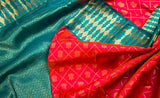 Peach & Green Pure Kanchipuram Handloom Silk Saree