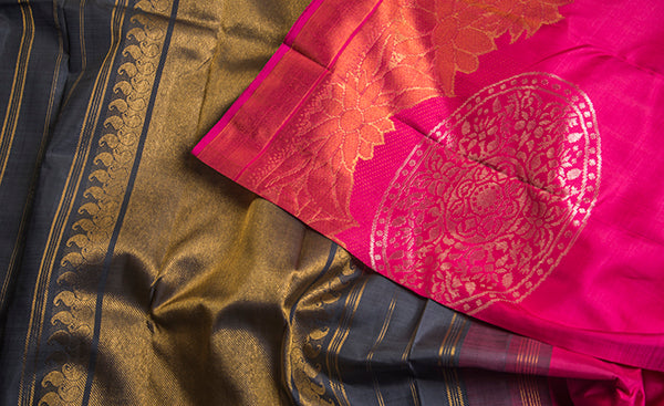 Candy Pink Copper Glow Saree