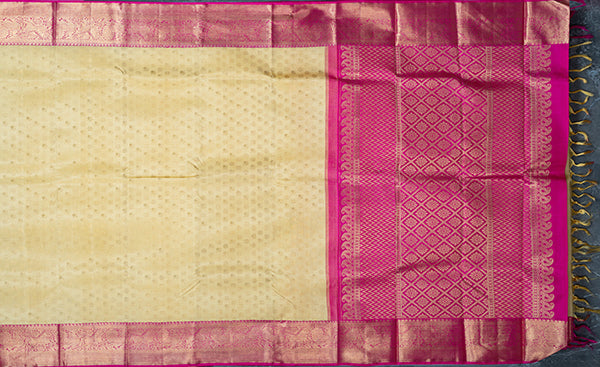 Cream Pure Kanchiuram Silk Saree