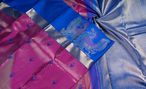 Purple Kanchipuram Silk Saree with Tizhu Zari Work