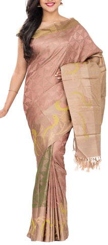 Dusty Rose & Beige Pure Handloom Kanchipuram Silk Saree With 1G Zari