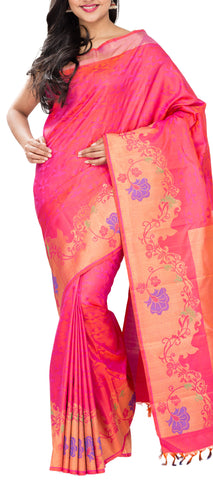 Bright Pink Pure Handloom Kanchipuram Silk Saree With Pure Zari