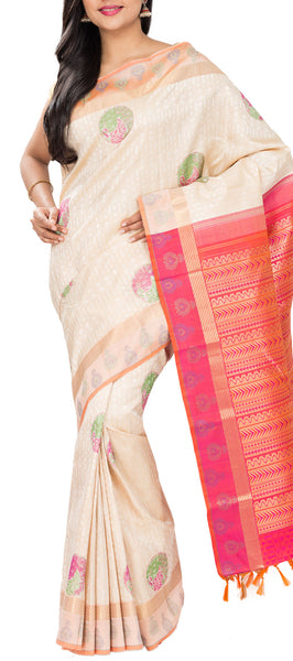 Cream & Orange-Pink Pure Handloom Kanchipuram Silk Saree With Pure Zari