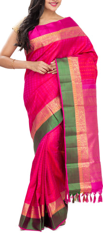Pink And Magenta Pure Kanchipuram Handloom Silk Saree With Pure Zari