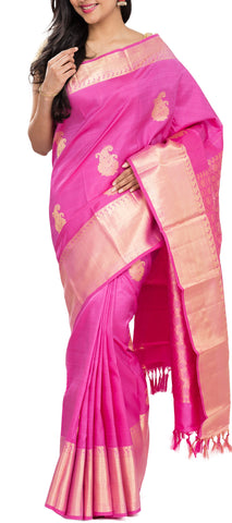 Pink Pure Kanchipuram Handloom Silk Saree With Half-Fine Zari