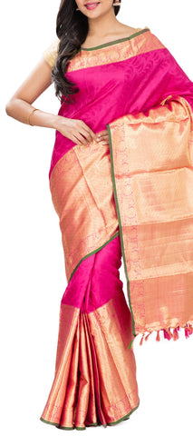 Magenta Pure Kanchipuram Handloom Silk Saree With Half-Fine Zari