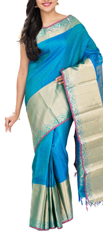 Blue And Turquoise Pure Kanchipuram Handloom Silk Saree With Half-Fine Zari