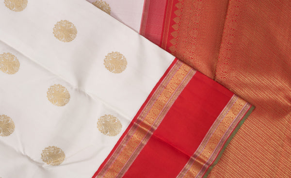 White & Red Purple & Pink Kanchipuram Handloom Pure Silk Saree