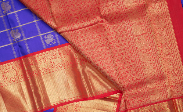 Royal Blue & Pink Purple & Pink Kanchipuram Handloom Pure Silk Saree
