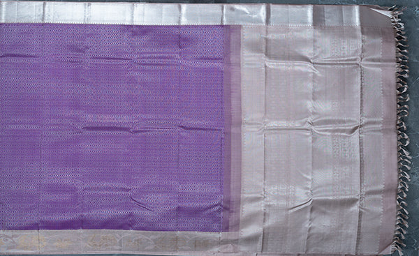 Purple Kanchipuram Silk Saree with Silver Zari Border