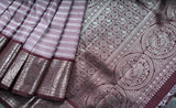 Lavendar Kanchipuram Silk Saree with Zari Stripes