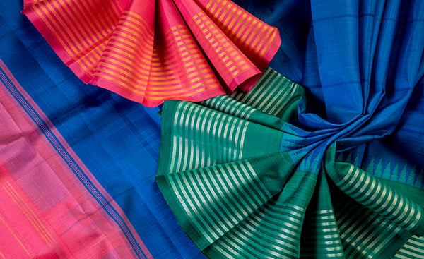 Cobalt Blue Pure Kanchipuram Handloom Silk Saree