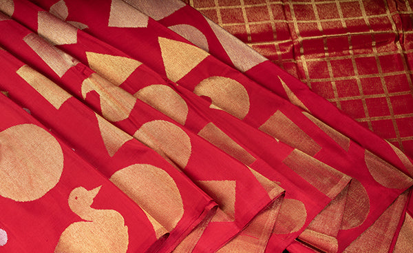 Borderless Red Kanchipuram Silk Saree