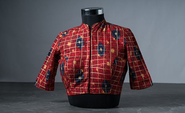 Electric Red Blouse with Ty and Dye Prints