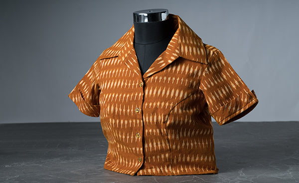 Brown Cotton Blouse with Ikhat Prints