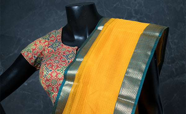 Cotton Readymade Blouse with Benarasi Zari Jacquard Patterns