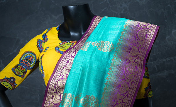 Yellow Cotton Readymade Blouse with Kalamkari Prints