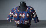 Dark Blue Cotton Blouse with Kalamkari Prints