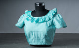 Sky Blue Cotton Blouse with Frills