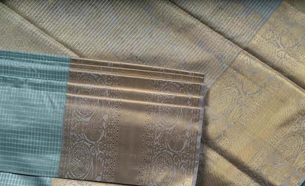 Cloud Grey Kanchipuram Silk Saree
