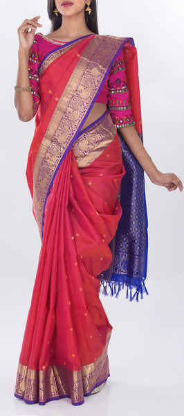 Onion Pink & Purple Lightweight Kanchipuram Pure Silk Saree