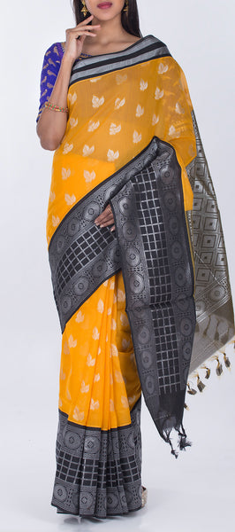 Mango Yellow & Black Semi Silk Cotton Casual Saree