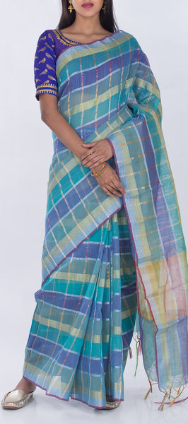 Teal Blue & Navy Blue Semi Silk Cotton Casual Saree