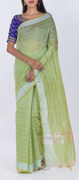 Parrot Green Semi Silk Cotton Casual Saree