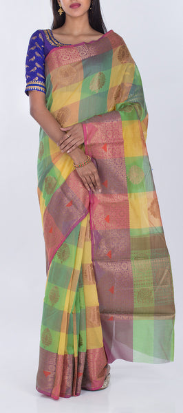 Yellow Green & Onion Pink Semi Silk Cotton Casual Saree