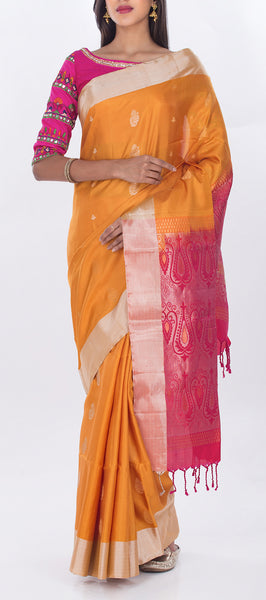 Mustard & Candy Pink Pure Soft Silk Saree