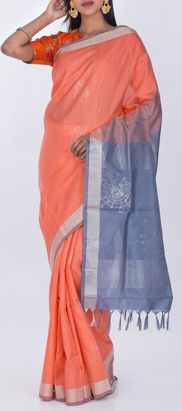 Peach & Grey Pure Soft Silk Saree