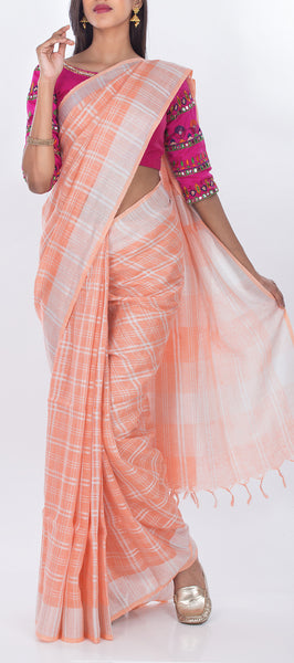 Peach Linen Silk Saree