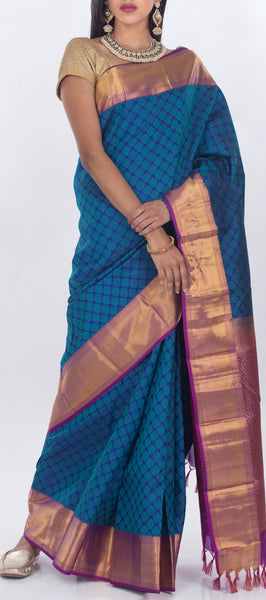 Navy Blue & Purple Lightweight Kanchipuram Pure Silk Saree