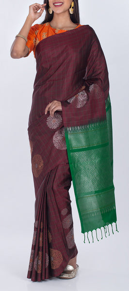Dark Brown & Green Borderless Pure Soft Silk Saree