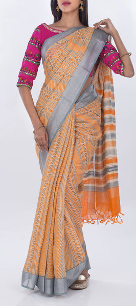 Orange & Grey Printed Linen Saree