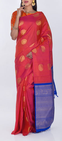 Onion Pink & Dark Blue Borderless Lightweight Kanchipuram Pure Silk Saree