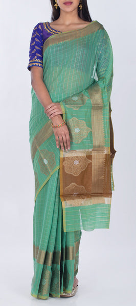 Teal Green Semi Silk Cotton Casual Saree