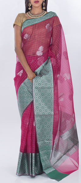 Candy Pink & Green Organza Casual Saree